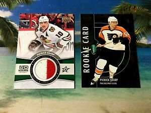 PATRICK-SHARP-RC-LOT-56-100-GAME-USED-JERSEY-ROOKIE-UD-PARKHURST-EXCLUSIVES