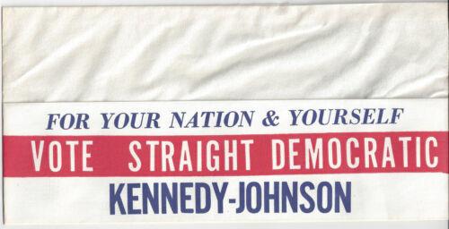 1960 JFK KENNEDY & LBJ JOHNSON VOTE STRAIGHT DEMOCRATIC PAPER CAMPAIGN CAP