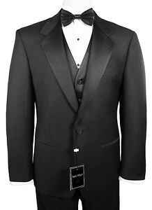 Men/'s Black Tuxedo Wedding Prom Dress Size 54R Jacket /& 49R Pants Formal