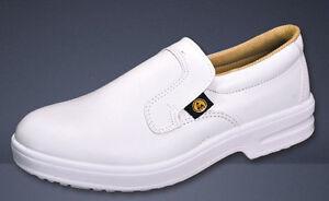 Alimento Blanco para Hombre Damas Slip on Zapato no Lavable a máquina de seguridad trabajo cocina