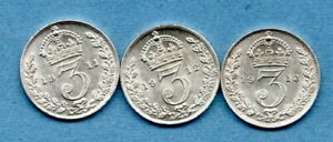 1911 1912 1913 GEORGE V, SILVER THREEPENCE COINS IN HIGH GRADE. 3d JOB LOT.