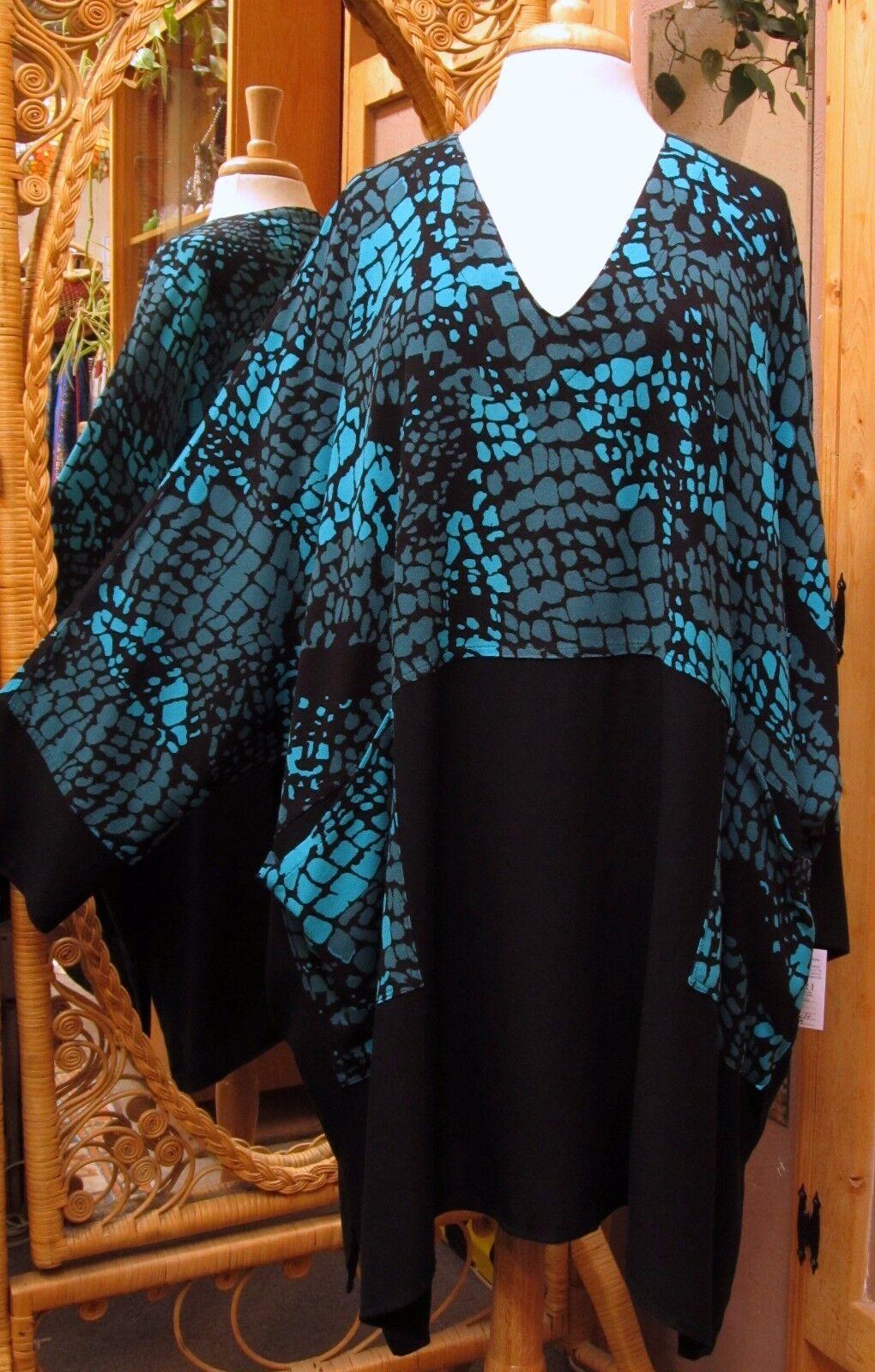 Dairi MGoldccan V & Cowl Neck Long Tunic Dalmatian Print Top 2 Pocket Style 2126