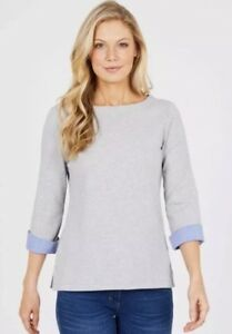 NEW-Nautica-Ladies-039-3-4-Cuff-Sleeve-Top-Grey-Large
