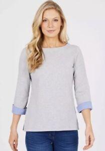 NEW-Nautica-Ladies-039-3-4-Cuff-Sleeve-Top-Grey-Medium