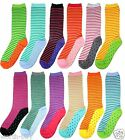 New 12 Pairs Womens Striped Dot Multi Colors Crew Socks Cotton Size 9-11 Fashion