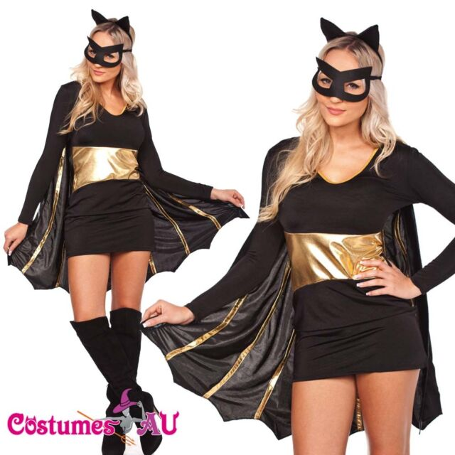 Ladies Superhero Batgirl Costume Halloween Hens Party Fancy Dress