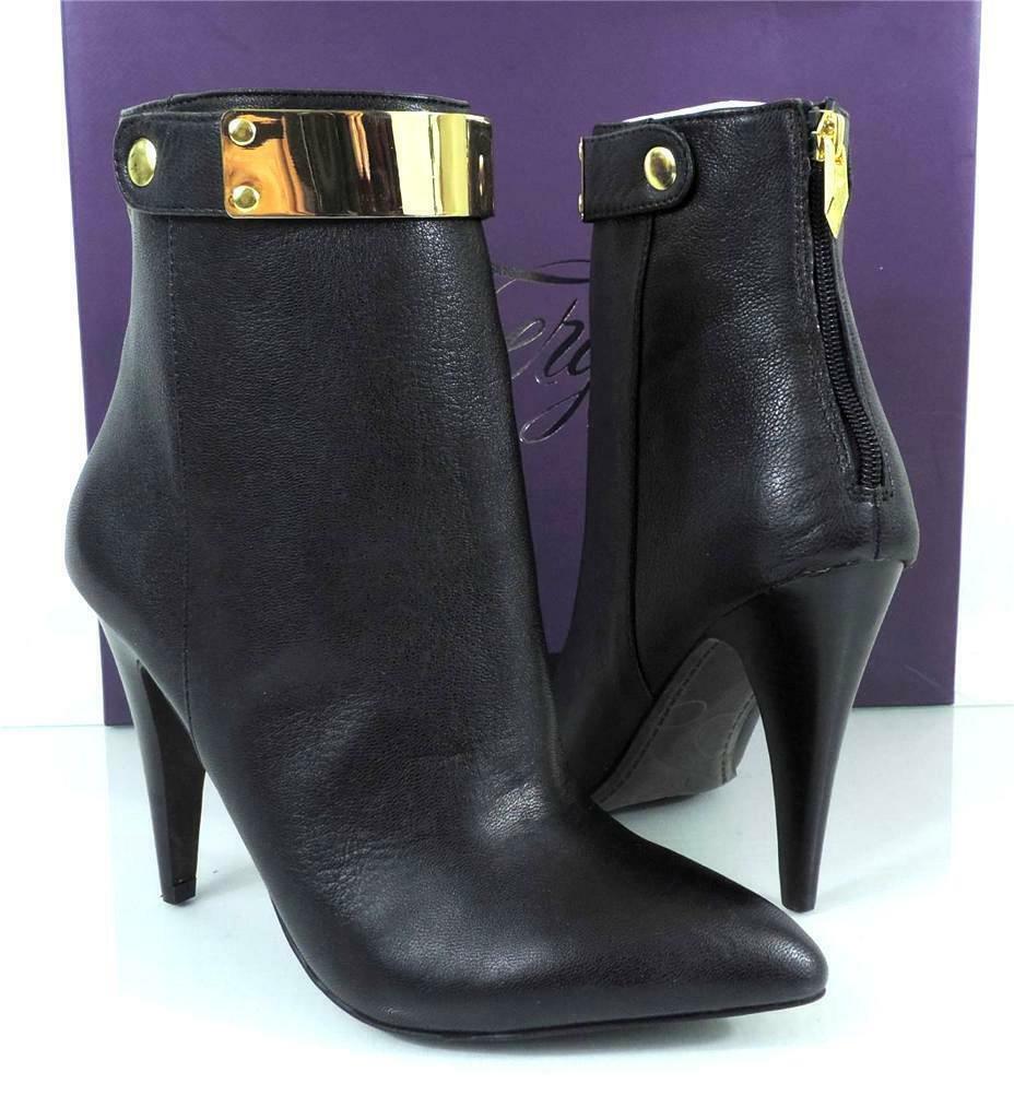 Mujer Zapatos botas al Tobillo Vestido Fergie Renata Botines Tacones Cremallera Negro