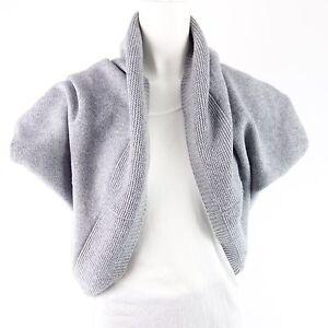 Details about Bloom Women's Bolero Cardigan Grey Knit Soft Shoulder Jacket Bolero Np 129 New