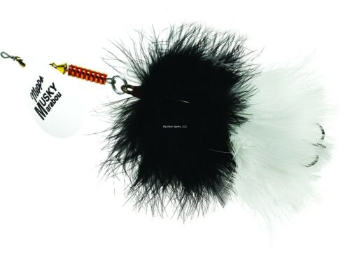 New Mepps Musky Marabou 1 1//4oz hot white-black//white Size 5//0 MM7T HW-BW