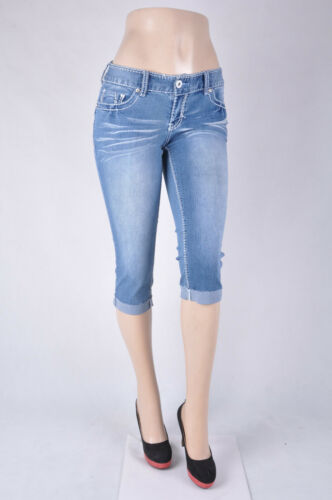 "/""ARIYA/"" JUNIOR CURVY FIT Stretch denim Capri Jeans turn up bottom indigo WG-056"
