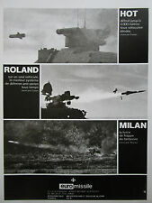 12/1982 PUB EUROMISSILE MISSILE ANTI CHAR HOT ROLAND MILAN ORIGINAL FRENCH AD