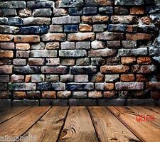 Brick Wood Floor Vinyl Photography Backdrop Background Studio Prop 10X10FT QD09