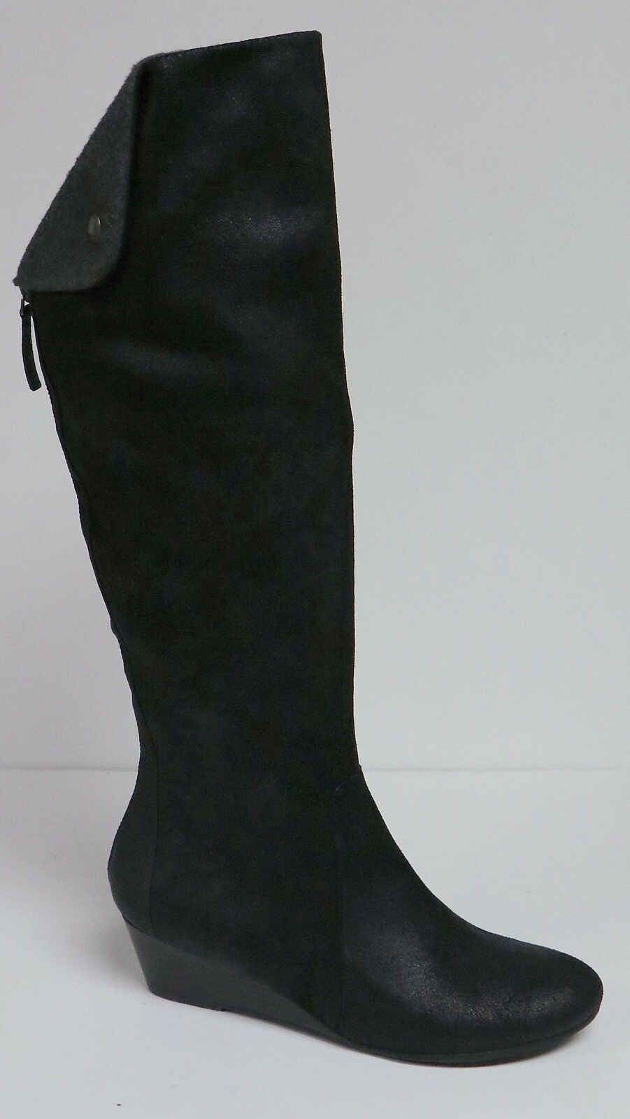 NICOLE PARIS WOMEN'S BLACK DISTRESSED LEATHER FASHION KNEE BOOTS WEDGE HEEL NEW