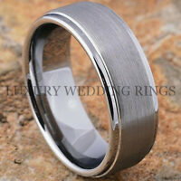 Tungsten Ring For Men Brushed Wedding Band Titanium Color Jewelry Size 6-13