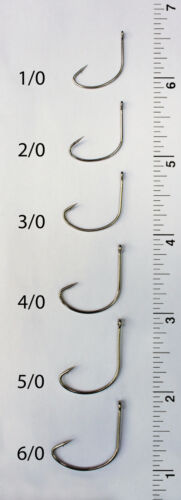 50 Size 6//0 Custom Offshore Tackle Offset Nickel Kahle Hooks Straight Eye