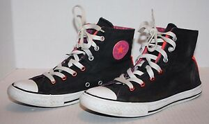 b434add0c60d Details about Converse ALL STAR Chuck Taylor Black w Pink Canvas Lace Up Hi-Top  Junior Shoes 4