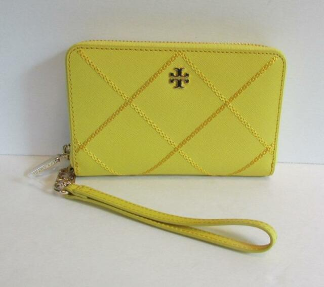 705e627efada4 Tory Burch Robinson Stitched Smartphone Wallet wristlet Sunshine leather  yellow
