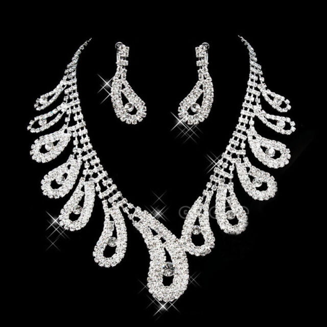 Stunning Wedding Bridal Party Rhinestone Crystal Necklace Earrings Jewelry Sets