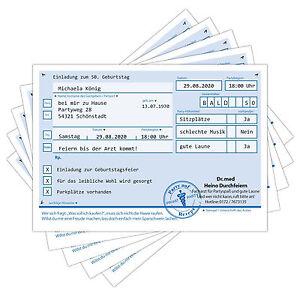 PRIVAT-REZEPT-Einladungskarten-zum-Geburtstag-Karte-Einladung-Feier-Party-Arzt