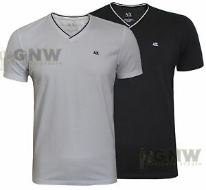 Armani exchange men cotton spandex mix v neck t shirt tee for Cotton and elastane t shirts