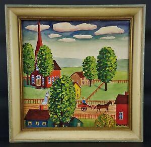 Albert-Kramer-Folk-Art-Gouache-on-Paper-Rural-Scene-7-x-7-034