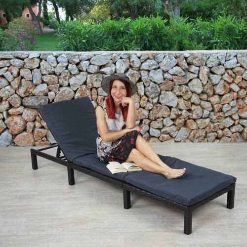 relax chaise longue Chaise Basic Anthracite coussins Gris Poly rotin transat transat mcw-a51