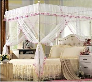 4 Corner Post Princess Bed Canopy Mosquito Netting Or Frame Twin Full Queen King