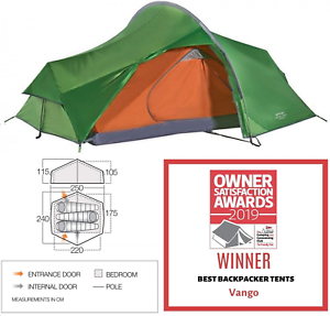 Vango Nevis 300 3 man berth person camping compact hiking tunnel tent 2019
