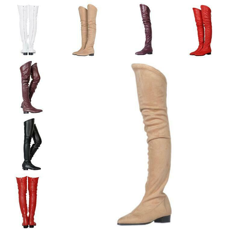 Women Clubwear Pointed Toe Low Low Low Chunky Block Heel Over Knee Boots shoes Nightclub ada7e4
