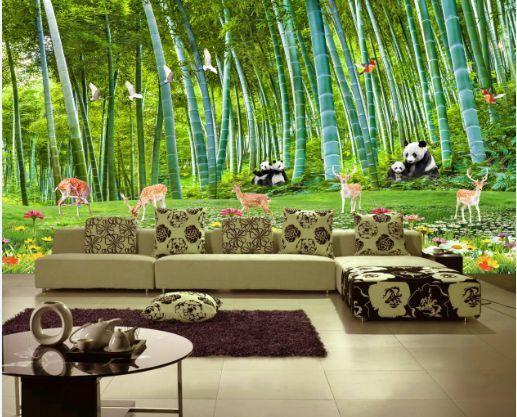3D Panda, cervi 2 Parete Murale Foto Carta da parati immagine sfondo muro stampa