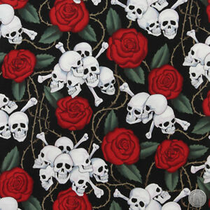 140101154 - Alexander Henry Skulls & Roses Black Cotton Fabric by the Yard Bones