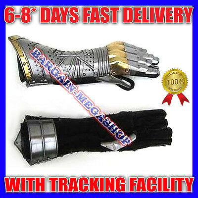 Medieval Brass Gauntlet Pair Armor Gloves - MEDIEVAL ARMOR GLOVES cp7
