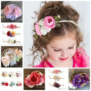 Baby-Girl-Flower-Hair-Garland-Crown-Nylon-Headband-Floral-Wreath-Hairband-AU