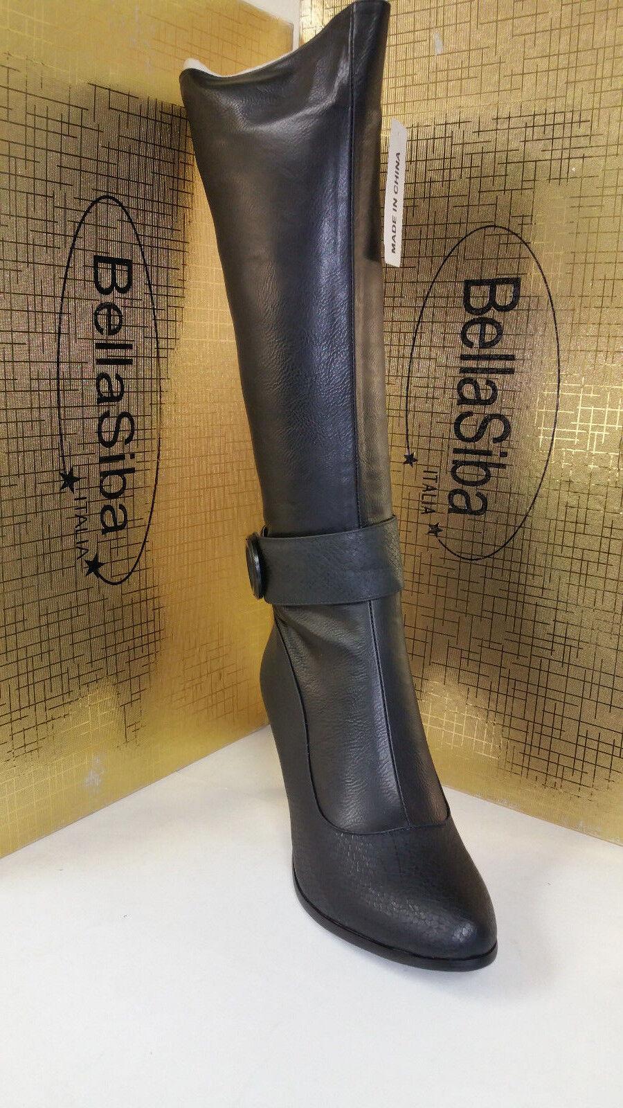 Bella Bella Bella Siba Italia Black Womens Knee High Heel Fashion Boots size 37-41 21081 e447cc