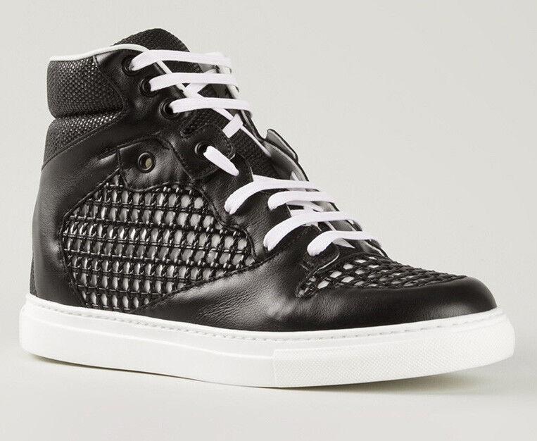 NEW Balenciaga Trainer Black Leather Monochrome Grid Hi-top Sneakers EU 40 US 10