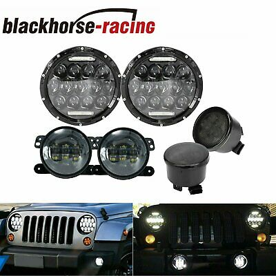 "For 07-17 Jeep Wrangler JK 7/"" RGB Halo LED Headlights Fog Light Turn Signal Kit"