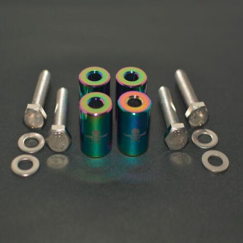 """NEO CHROME 1/"""" BILLET HOOD VENT SPACER RISER KITS FOR TURBO//ENGINE//MOTOR SWAP 8MM"""