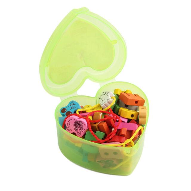 Wooden Lacing Beads Animals Blocks Heart-shape Box Threading Educational Toy d8