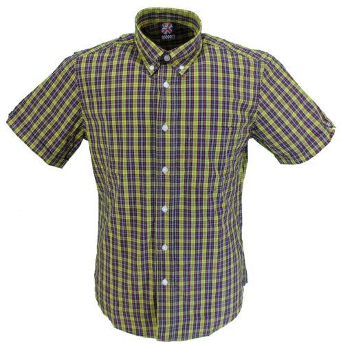 Warrior Mens Multi Checked Retro Button Down Short Sleeve Shirt