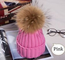3d740a54329 2018Hot Women Winter Racoon Fur Pom Pom 18cm Ball Knit Beanie Ski Cap  Bobble Hat
