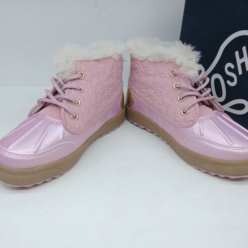 Various Sizes OshKosh Girls Tarin Toddler Ankle Boots Laces Shoes Pink//Gold