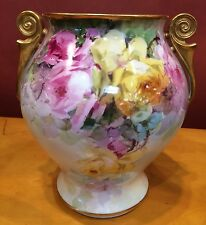 Franz Bischoff Painted Porcelain Roses Vase, Pasadena, 1910, Pirkenhammer Blank