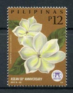 Filippine-2017-Gomma-integra-non-linguellato-Asean-50th-ANNIV-FIORI-Arabian-Jasmine-1-V-Set