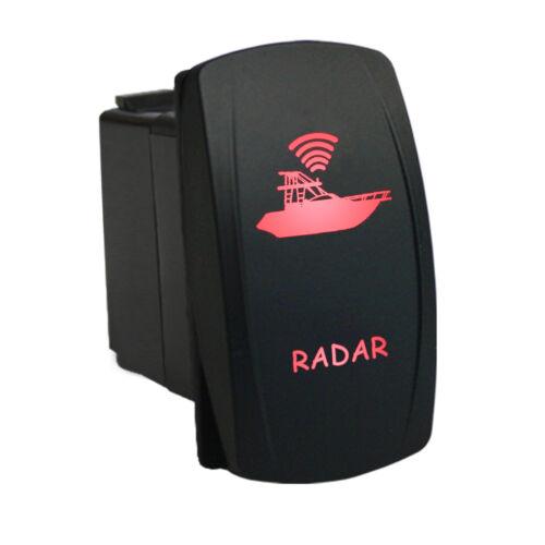 Rocker switch 6M43R 12V RADAR dual LED red waterproof marine boat 5 pins SPST