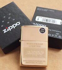 "Zippo High Polish Brass ""Windproof"" Full Lighter #28145 NEW IN BOX"