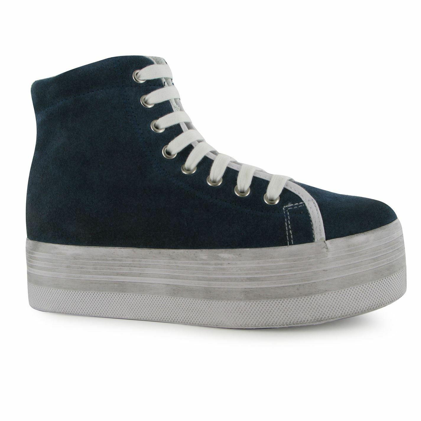 Jeffrey Campbell hOMG Hi Tops Platform Schuhes Damenschuhe Navy/WEISS Trainers Sneakers