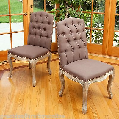 Set of 4 Crown-Top Mocha Brown Tufted Fabric Dining Chairs w/ Nailhead Accent
