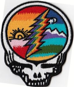 GRATEFUL-DEAD-STEEL-YOUR-FACE-SUN-RAINBOW-LIGHTING-BOLT-IRON-or-SEW-ON-PATCH