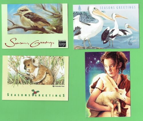 #D220. FOUR AUSTRALIA POST CHRISTMAS GREETING CARDS 1992, 1993, 1994,1996