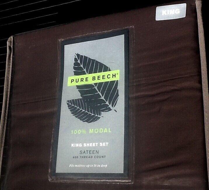 NEW 4-pc Pure Beech Chocolate 100% Modal Sateen 400 Thread Count KING Sheet Set